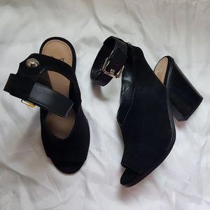Marc Fisher Black Suede Vidal 2 Ankle Strap Sandal